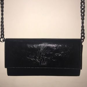 Ysl yves saint laurent clutch black patent leather